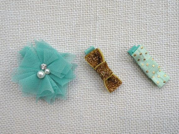 Set of 3 Hair Clips  Mint green & Gold   Gift by MyLittleVioletta