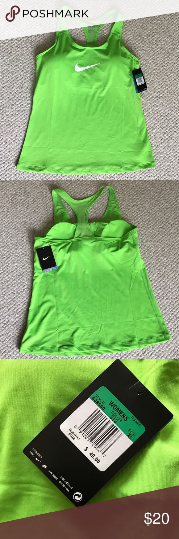 Neon Green Nike Compression Top-built in bra Built in bra to give you additional support. I like it Bc it covers up the ladies when it gets cold and you don't need anyone else to tell you that you look cold. 😊. Nike Flex Swoosh from Nike. Two in one, support and comfort The Nike Flex Swoosh Women's Training Sports Top is made with sweat wicking stretch fabric, a racerback, built in bra for supportive fit that moves with you during your workout., Benefits Dri FIT fabric helps keep you dry…