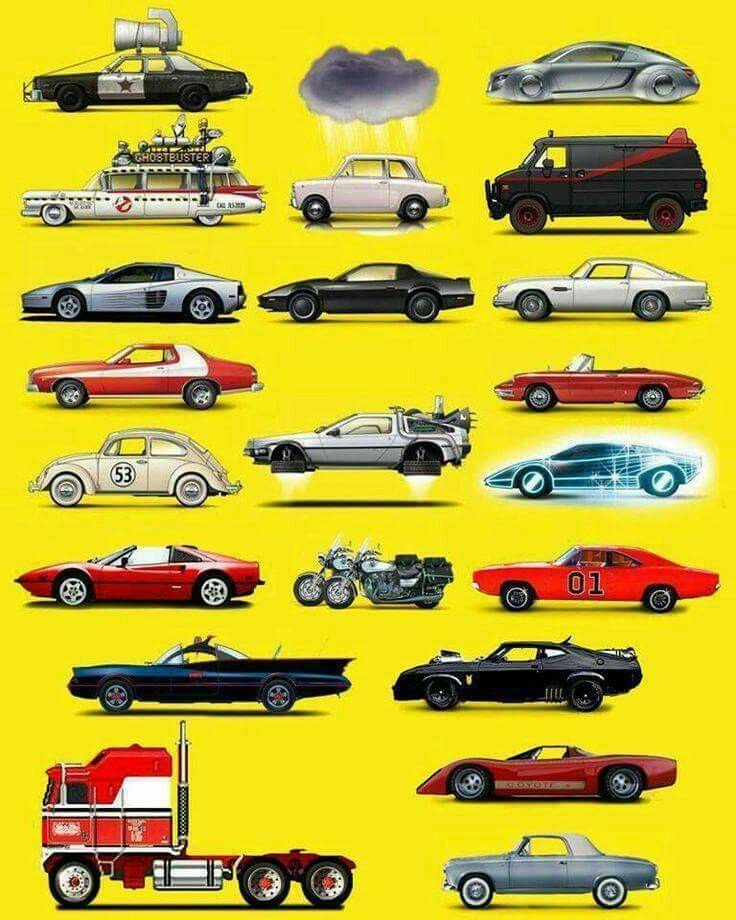 Best TV And Movie Cars Images On Pinterest Car Cars And - Famous movie cars beautifully illustrated