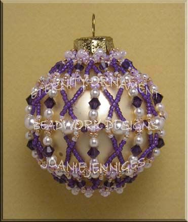 Beaded Christmas Ornament Pattern:  Eternity Christmas Ornament; Beadwork Designs by Joanie Jenniges