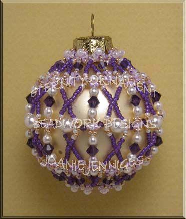 Beaded Christmas Ornament Pattern:  Eternity Christmas Ornament; Beadwork Designs by Joanie Jenniges