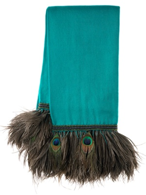Anna Trzebinski Turquoise Cashmere Shawl with Peacock and Ostrich Trim