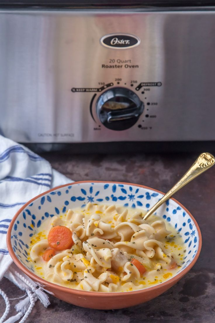 [ad] Creamy Turkey Noodle Soup is our favorite dish for Thanksgiving leftovers!