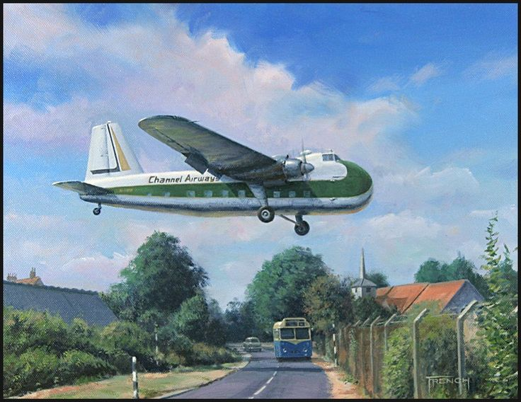 Bristol Freighter Southend airport Channel Airways by Chris French - Over Eastwoodbury Lane Approaching Southend airport in Essex, Bristol Freighter of Channel Airways, one of two of this type operated by the airline from the late 1950s