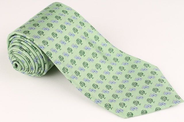 "Vineyard Vines Light Green ""Trees"" The Williston North Hampton School mens Tie"