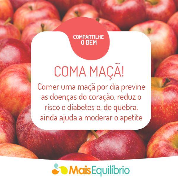 Inclua uma maçã por dia no seu cardápio e tenha mais saúde! http://maisequilibrio.com.br/maca-otima-fonte-de-fibras-2-1-1-106.html