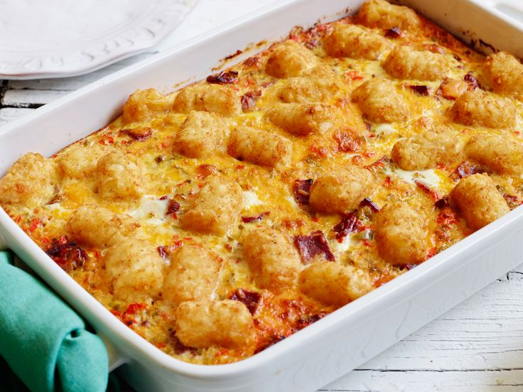Corned Beef Hash Brown Casserole : Here's a casserole you can make the night before the big holiday-morning spread, leaving you free to tie up other details. It's kind of like a fat Western omelet supercharged with crispy potato tots: hearty enough to be the main dish, fun for the kids and even gluten-free, so no one's left out!