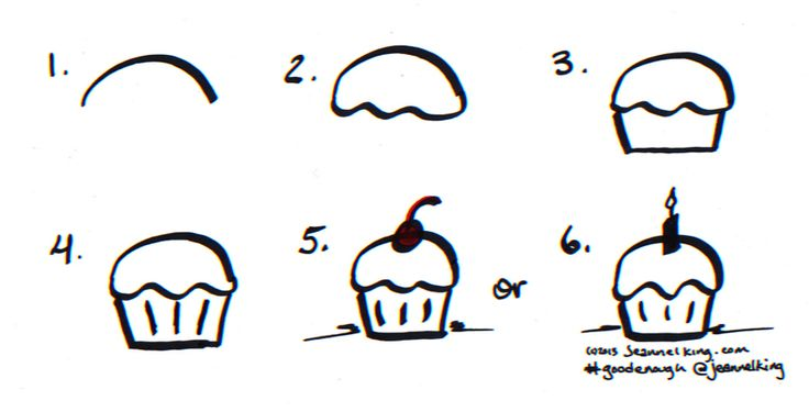 How to draw a Good Enough birthday cupcake!