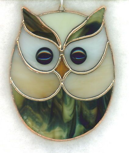 Stained glass light catcher - owl