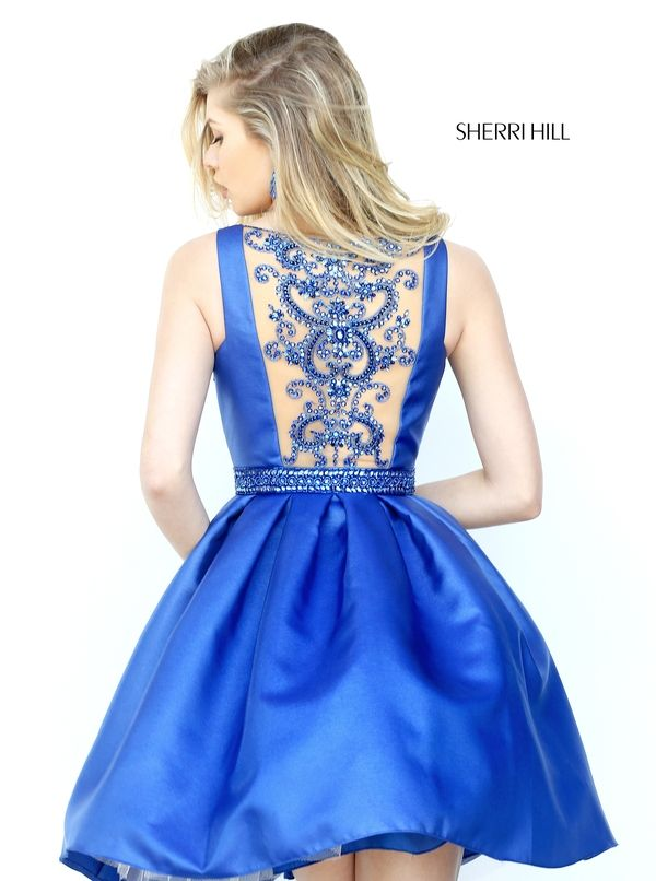 A Line Sherri Hill 50505 Beads Flowy Homecoming Dress Royal
