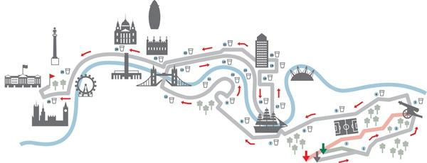 London Marathon Map by Gemma Robinson, via Behance