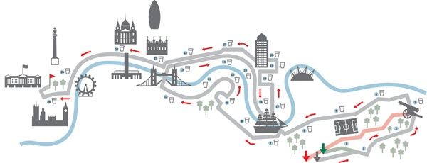 London Marathon Map by Gemma Robinson, via Behance