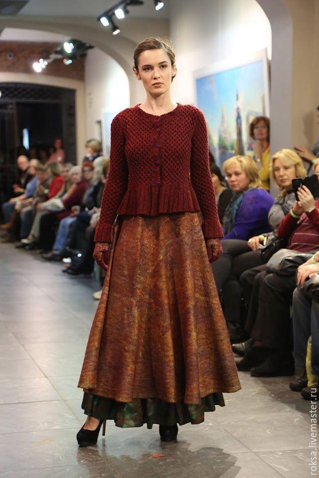 """Купить Валяная юбка-солнце """"Золотая марсала"""" - женская юбка, юбка в пол, юбка длинная"""