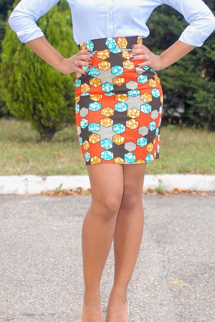 jupe taille haute pagne africain wax jupe par etsirga. Black Bedroom Furniture Sets. Home Design Ideas