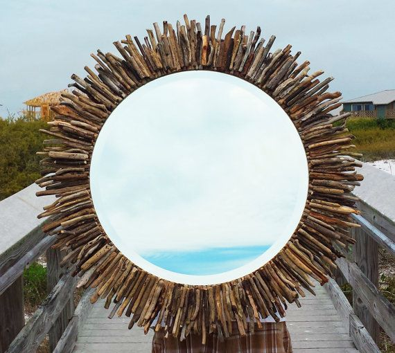 "Coastal Wall Mirrors 30"" circular sunburst/starburst driftwood mirror coastal seaside"