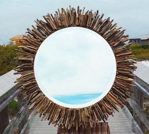 "Coastal Wall Mirrors 30"" circular sunburst/starburst driftwood mirror coastal seaside"