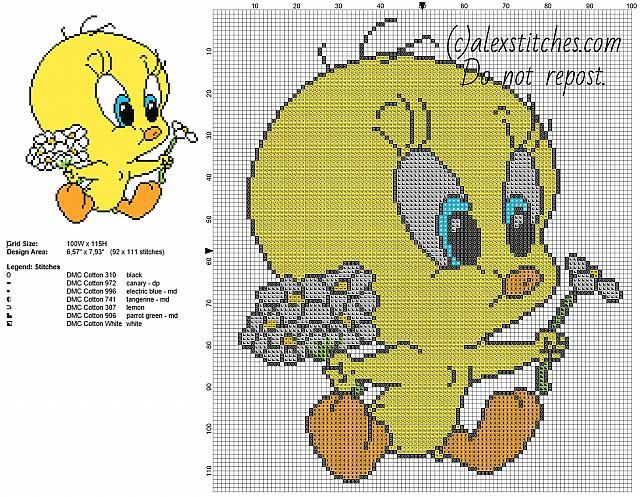 Baby Tweety Bird with daisies flowers Looney Tunes character free