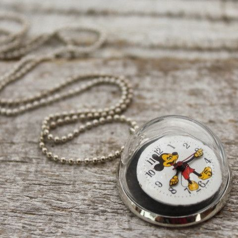 Old Mickey Watchface Necklace