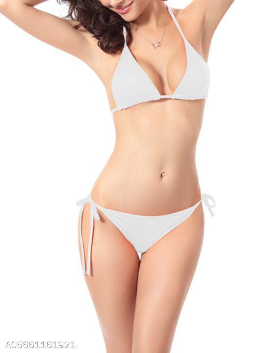 caa986a5194fb Halter Drawstring Plain Bikini in 2019 | Women's Swimwear | Bikinis,  Swimwear, Bikini swimwear