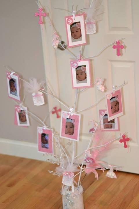 Tomé una rama de árbol y este es mi resultado final. Favores para mi hija Bautismo. Decoraciones del partido.