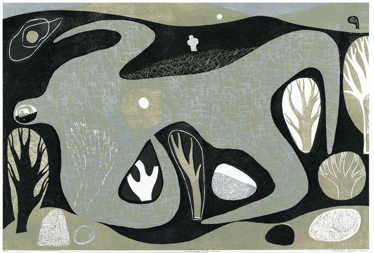 Melvyn Evans 'Landscape with Figure' linocut