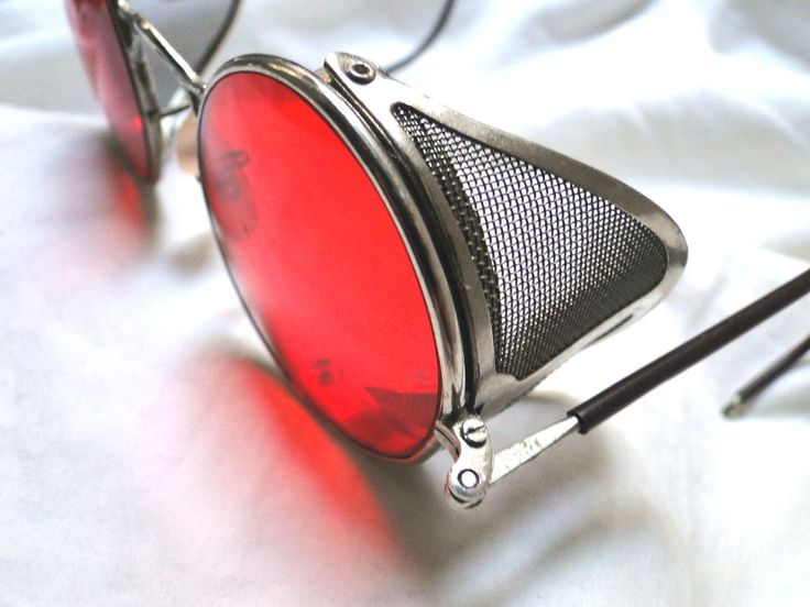 VTG STEAMPUNK SUNGLASSES MATSUDA METAL MESH SIDE SHIELDS WELSH BLOOD RED RARE!!  #WELSH #Round