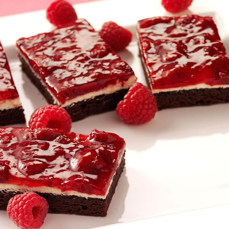 Raspberry Brownie Dessert Recipe -This is such an easy dessert that everyone goes crazy over! I have brought it to church and work potlucks, and everyone always begs for more. The recipe is so easy—it goes together in a snap.