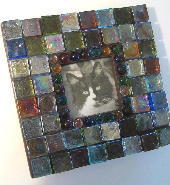 Mosaic Glass Picture Frame Square Frame by MashedPotatoMosaics, $31.75