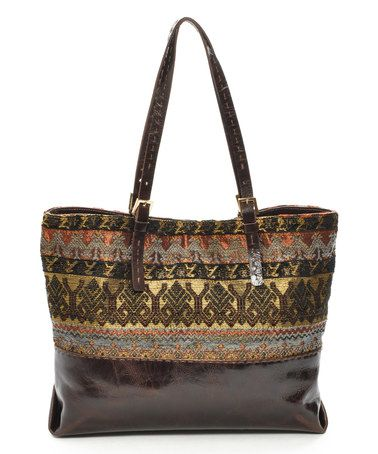 Look at this #zulilyfind! Gold & Brown Tribal Malibu Tote by Carla Mancini #zulilyfinds