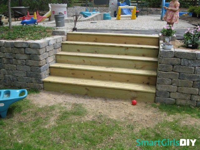 Diy Retaining Wall And Stairs Diy Retaining Wall Retaining Wall Diy Stairs