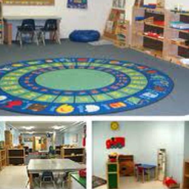 Classroom Decor Rugs : Classroom with letters on rug for a print rich environment