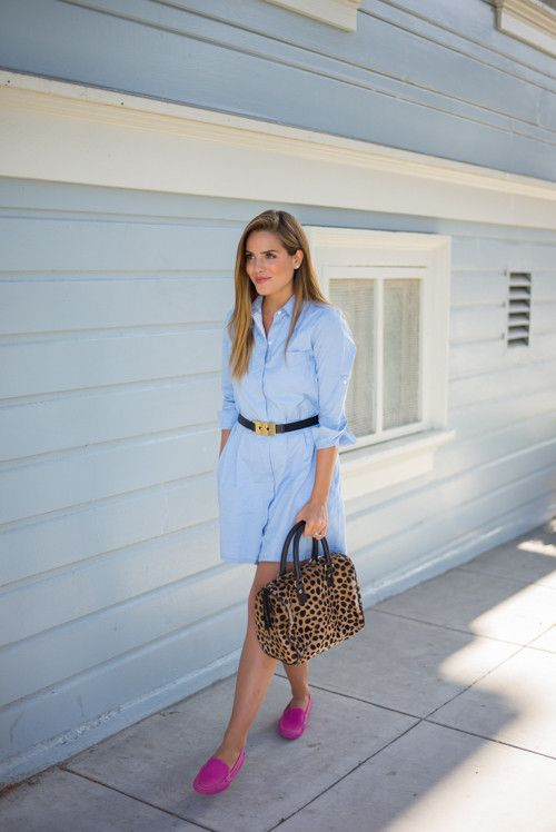 Pink Loafers and chambray shirt-dress