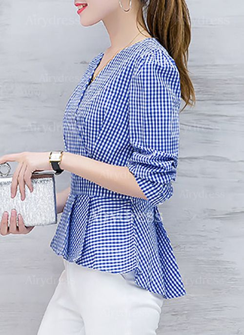 Blusas Estampado Elegante de Algodão Poliéster Decote V Manga comprida (1133373) @