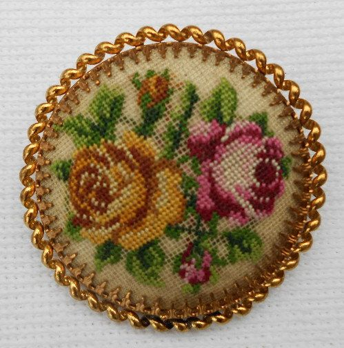 Vintage Brooch Petit Point Roses by trulyuniqueshop on Etsy, $15.00