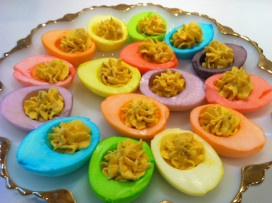 Rainbow devilled eggs