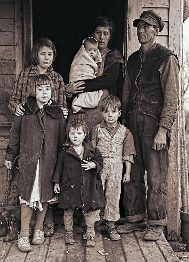 | Great Depression Iowa Farm Family 1936 Photograph - The despair is written all over their faces and in their stances.