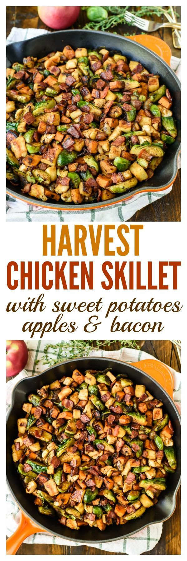 Harvest Chicken Skillet with Sweet Potatoes, Apples, Brussels Sprouts and Bacon. An easy, healthy dinner recipe!