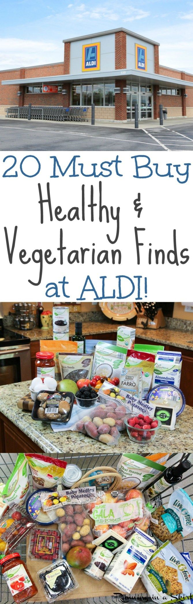 20 Must Buy Healthy Finds at ALDI! What to buy for a clean eating, vegetarian (vegan options!) shopping list at a budget. Must haves, tips and hacks to get the most out of your shopping trip.  Include