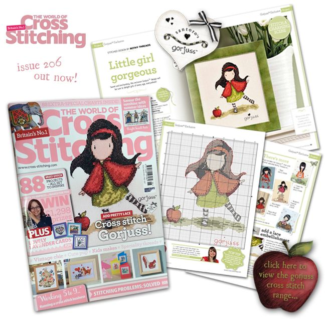 Crafty Gorjuss fans will be excited to hear that a special NEW Gorjuss cross stitch design from licensee Bothy Threads Ltd is currently featured in The World Of Cross Stitching magazine issue 206, out today! It features the charming Little Apple, and includes a stitch chart and instructions on how