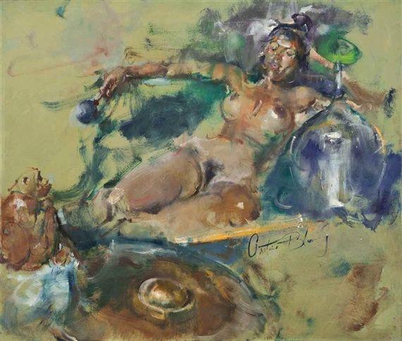Antonio Blanco - Wanita Bali dengan kendi kaca