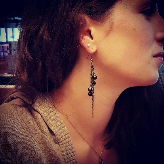 Cluster dangle drop earrings in rustic bronze by DorsetCreations