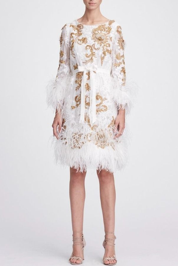 f3428676be Marchesa M24928 Ivory Gold Long Sleeve Lace Cocktail Dress   Poshare ...