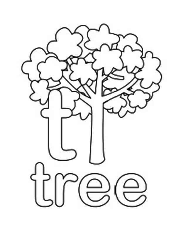 Lower Case Letter T For Tree Coloring Page : Bulk Color ...
