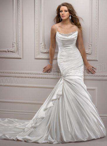 Chiffon Cowl Draped Neckline Mermaid Wedding Dress