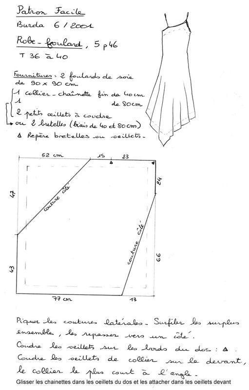 Sur son blog Hélène Coud, Hélène présente sa robe foulard blanche réalisée en deux heures à partir d'une nappe damassée et de mon patron : ...