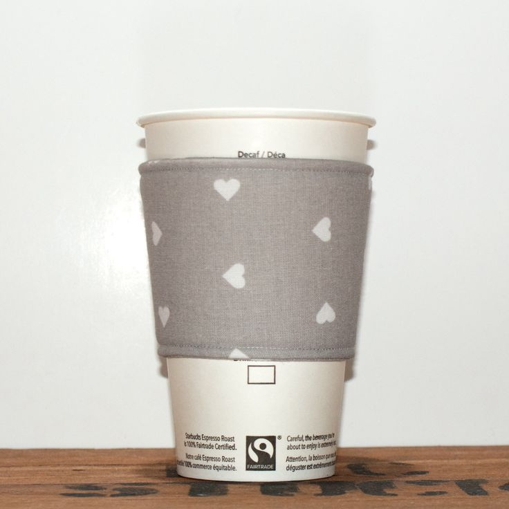 Coffee cozy - Fabric Coffee sleeve - Cup sleeve - Coffee clutch  - Hot cup jacket - Grey gray with white hearts - Premium by Chockrosa on Etsy https://www.etsy.com/listing/212039950/coffee-cozy-fabric-coffee-sleeve-cup