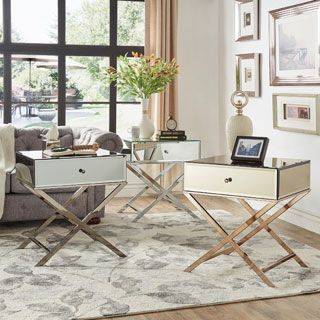 Shop for INSPIRE Q Camille X Base Mirrored Accent Campaign Table  Get free  shipping at   Mirrored FurnitureBed FurnitureFurniture OutletOnline. 43 best MIRRORED FURNITURE images on Pinterest   Mirrored