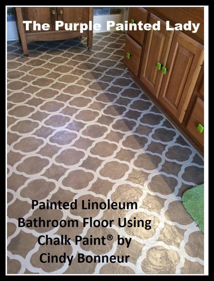 The Purple Painted Lady Painted Linoleum Floor bathroom Annie Sloan Lacquer  Chalk Paint®
