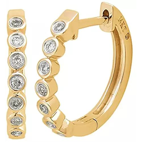Diamond Small Hoops in 10k Yellow Gold (0.16 carats)