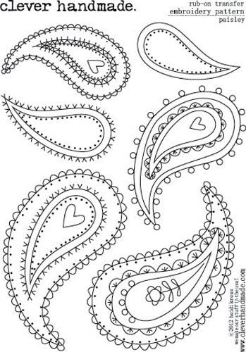 Clever Handmade - Embroidery Patterns - Rub Ons - Paisley